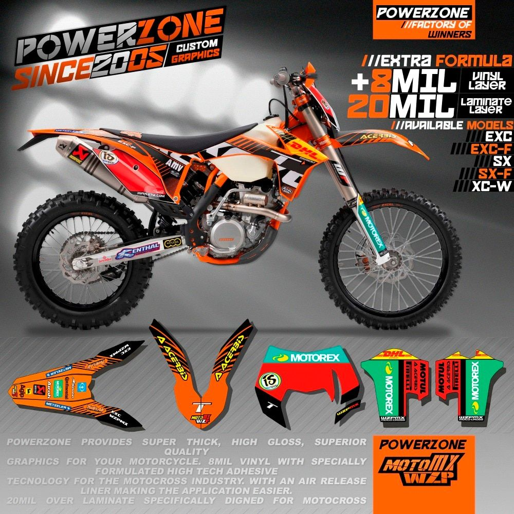 CustomizableTeam Graphics Backgrounds Decals 3M Stickers Kits For KTM SX SXF EXC XCW 125 250 450 530 2008 -2018