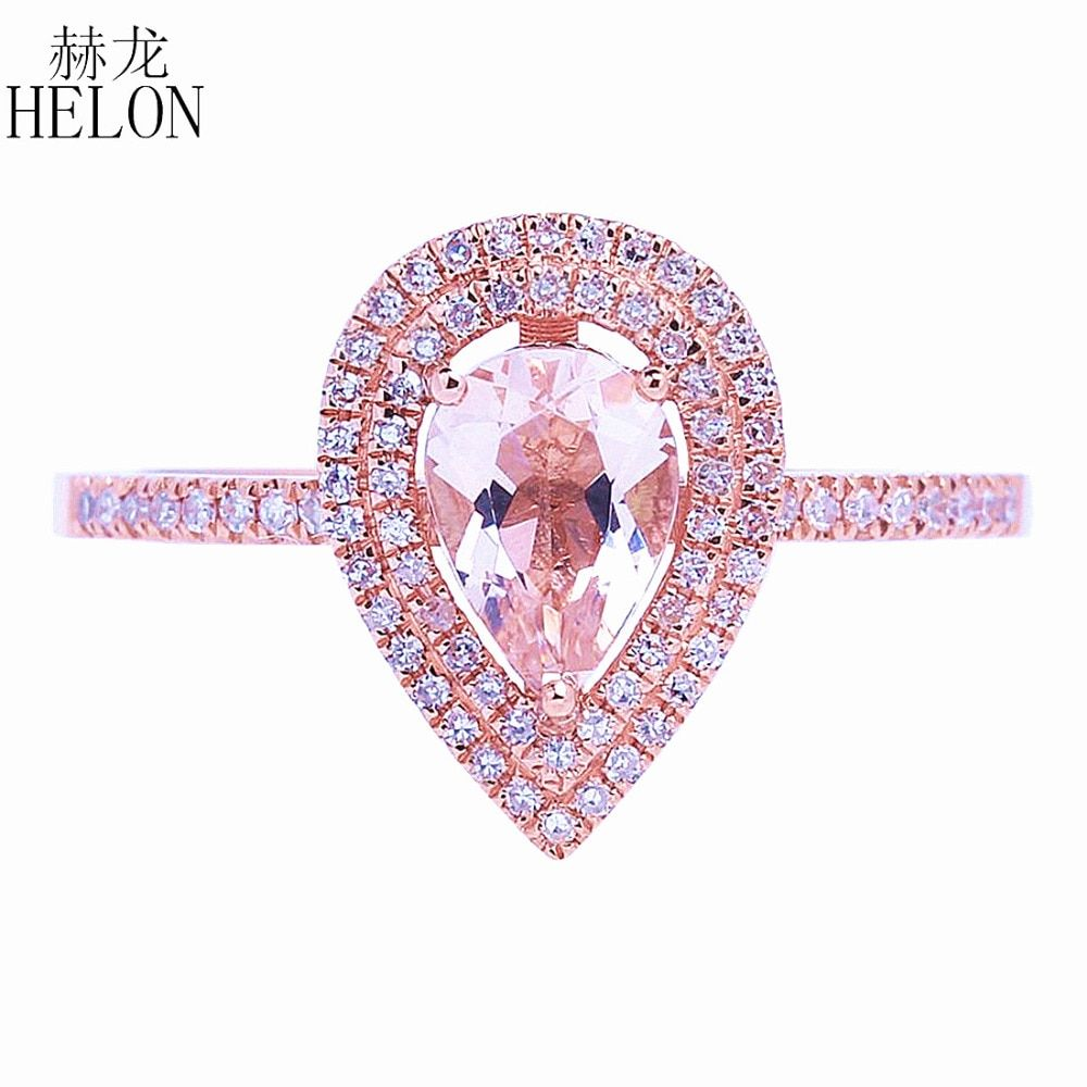 HELON Solid 14k Rose Gold Two Halos Natural Diamonds Engagement Wedding Ring 5x7mm Pear Morganite Ring Fine Jewelry Women