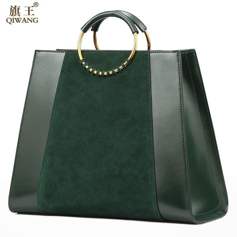 QIWANG GETROFFEN Grün Echtes Leder Frauen Tote Handtasche Mit Kreis Griffe Hohe Qualität Wildleder Leder Elegante Damen Grüne Tasche