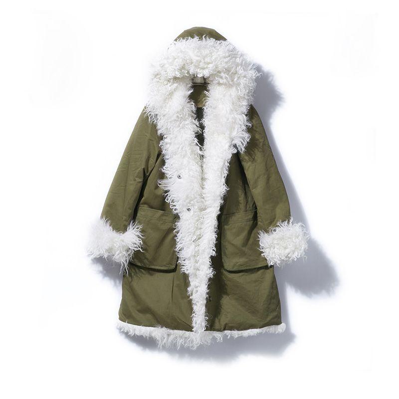 Echtpelz Mantel 2018 Lange Unten Parka Lose Winter Jacke Frauen Natürliche Mongolei Schafe Weibliche Weiße Ente Unten Jacke warme Mantel