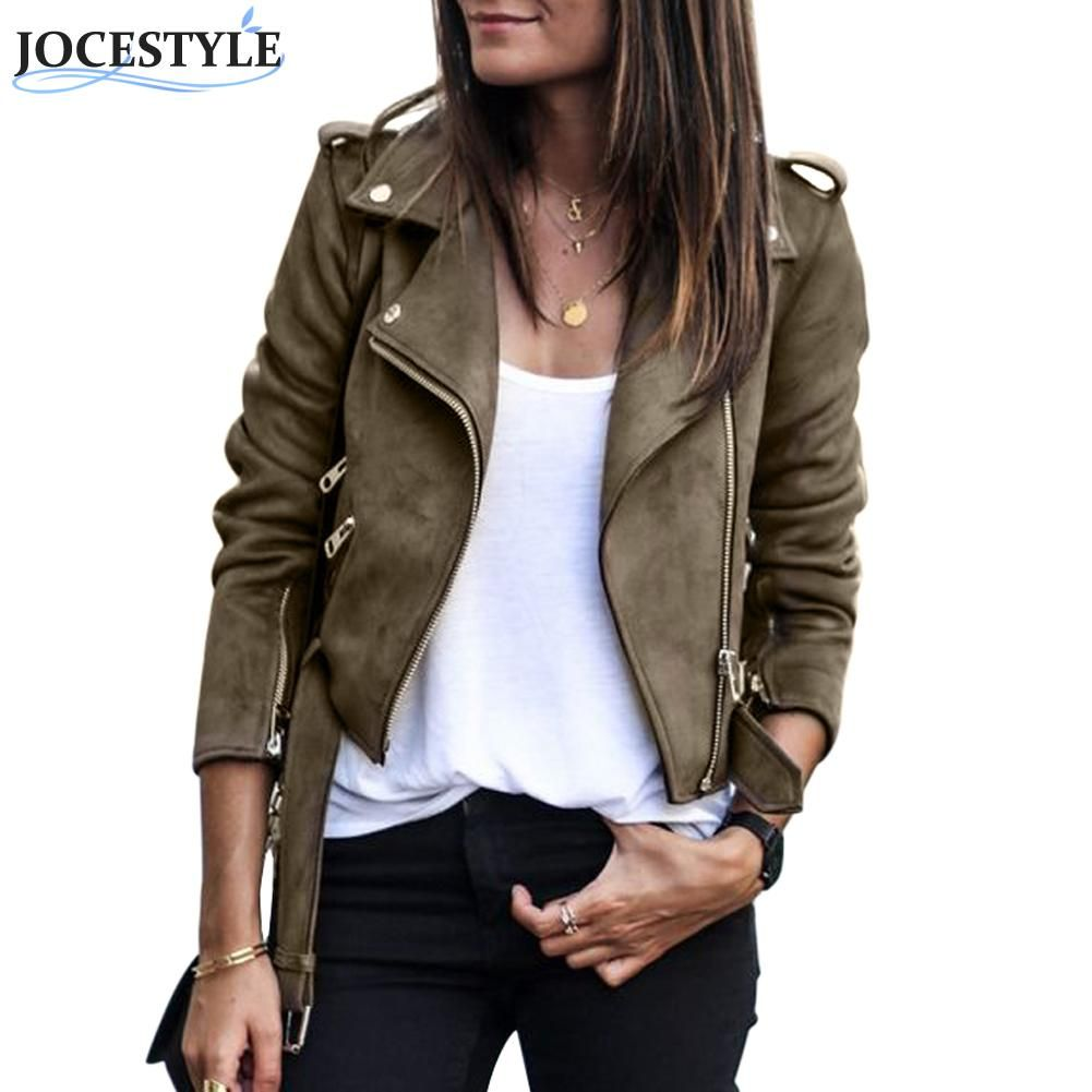 Faux Leather Suede Jackets Women Autumn Short Slim Basic Jackets Female Long Sleeve Coat 2017 Winter Cool Motorcycle Streetwear