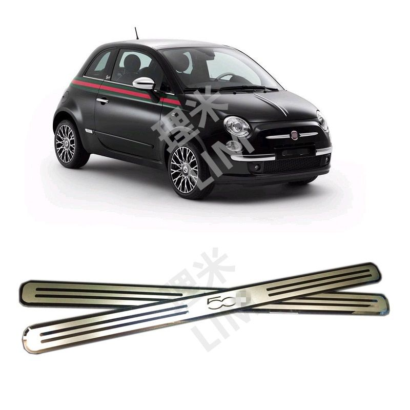 Convient pour FIAT 500 500C acier inoxydable miroir Surface éraflure plaque de seuil de porte garniture accessoires de style de voiture
