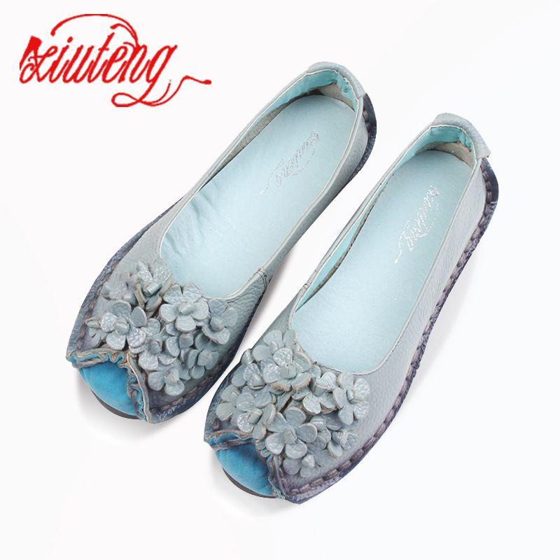 Xifairy g 2018 été mocassins souples chaussures décontractées femmes fleurs de haute qualité marque en cuir véritable chaussures chaussures plates pour femme chaussures de conduite
