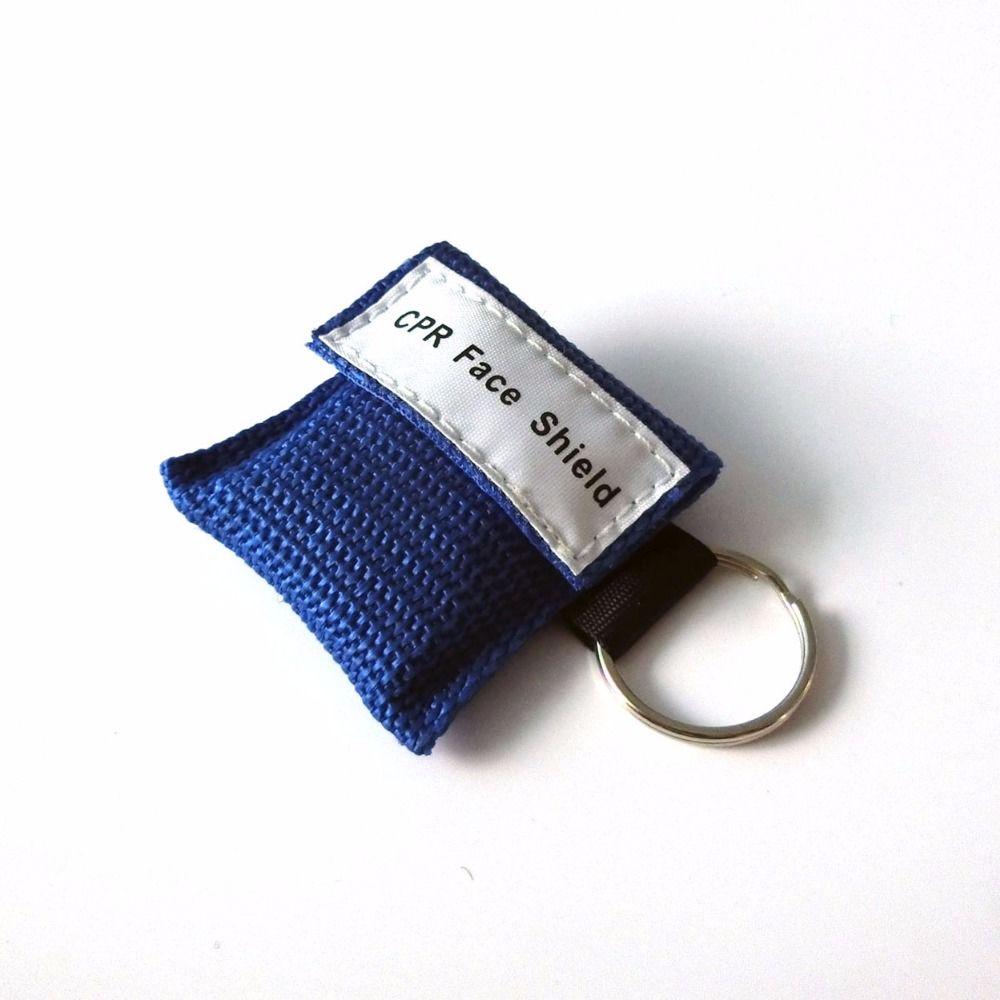 500 Stücke CPR Maske Cpr Gesichtsschutz Einwegventil Mit Schlüsselanhänger für Notfall Überleben Einsatz CPR Erste-hilfe-tasche Blau Nylontasche gewickelt