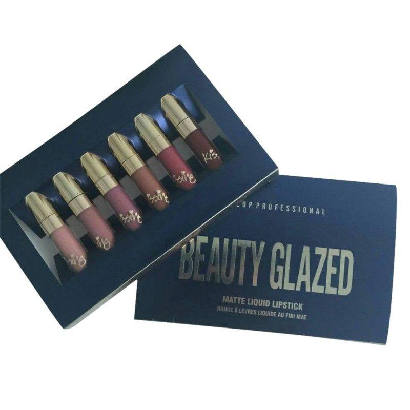 Beauté glacé 6 pièces rouge à lèvres un ensemble maquillage liquide mat rouge à lèvres Kit brillant longue durée cosmétiques brillant à lèvres