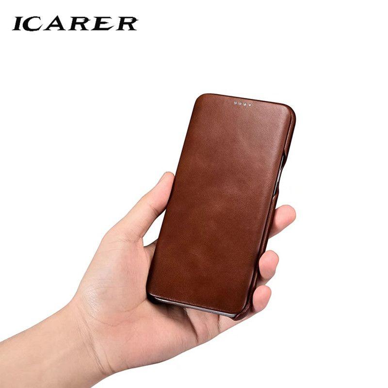 ICarer Pour Samsung S8 Cas cuir véritable de luxe + Dur Armure Antichoc Back Flip Téléphone étui pour Samsung S8 Plus Couvercle du Boîtier