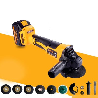 Strong Power Electric Lithium Battery Cordless Angle Grinder Grinding Machine Polishing Cutting Grinding Sanding Wax Power Tools