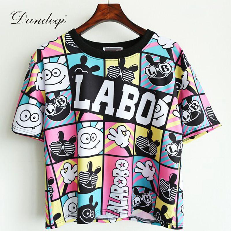 Camisetas Crop Top 2017 Summer Style Femmes T-shirt Unique Imprimé T-shirts De Base À manches Courtes Harajuku Creux Tops Livraison Gratuite