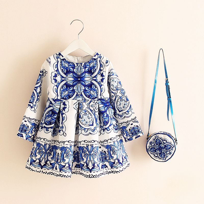 Long Sleeve Dress Girl Christmas Dress 2018 Autumn Winter Floral Print Toddler Girl Dresses <font><b>Kids</b></font> Clothes Children Dress with Bag
