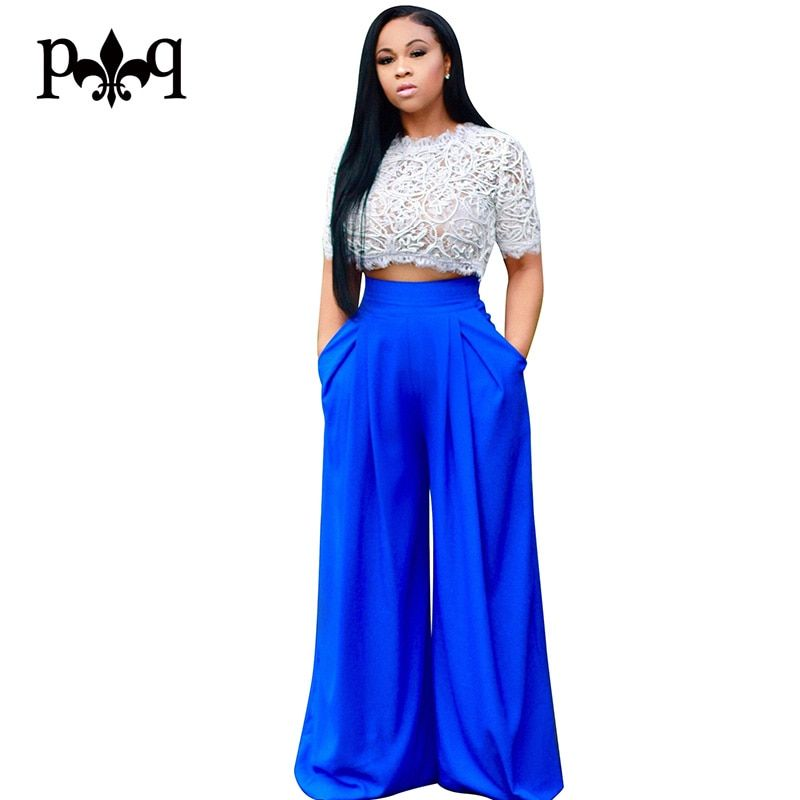 Hilove Women Jumpsuits Summer Casual Wide Leg Pants Rompers Womens Jumpsuit Sexy Two Piece Lace Playsuits Party Club Overalls