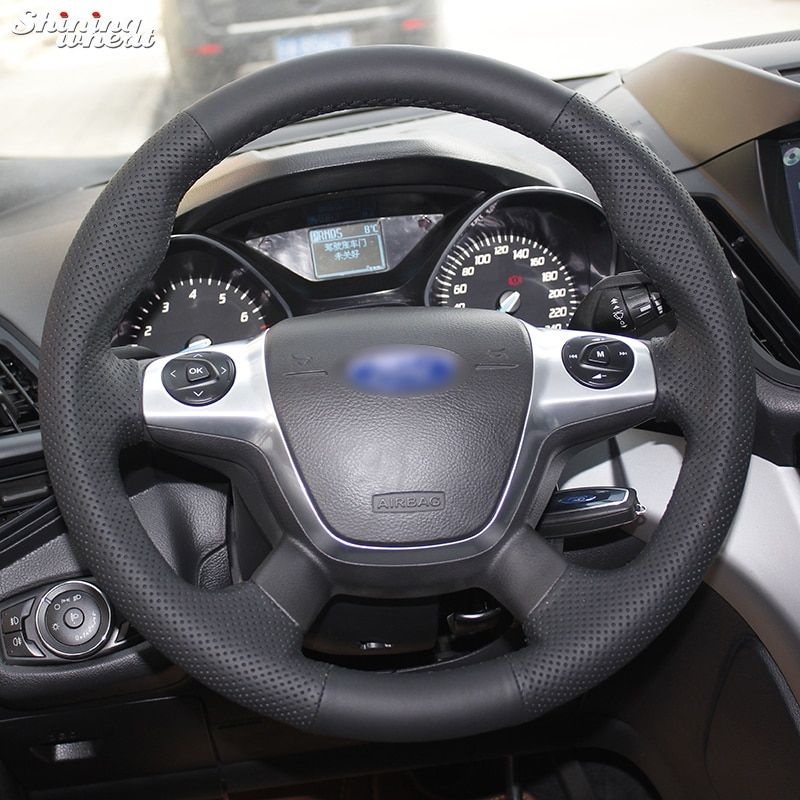 Brillant blé Noir cousu Main En Cuir Couverture De Volant de Voiture pour Ford Focus 3 KUGA Échapper 2012 2013