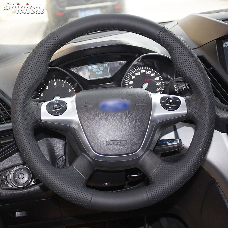 Shining wheat Hand-stitched Black Leather Car Steering Wheel Cover for Ford Focus 3 KUGA Escape 2012 2013