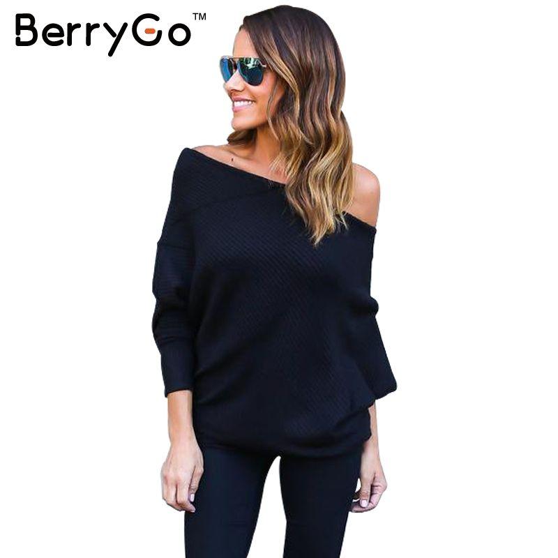 Berrygo черный с открытыми плечами вязаный свитер Для женщин осень элегантный рукав