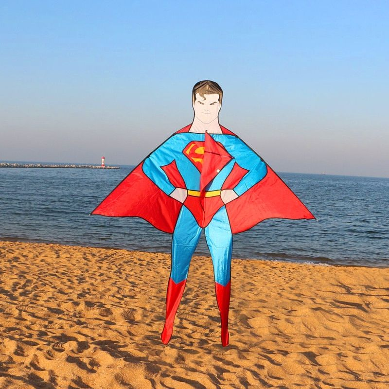 Livraison gratuite de haute qualité nouveau style 2 m superman cerf-volant grand cerf-volant volant avec poignée ligne enfant amour jouets de plein air wei cerfs-volants