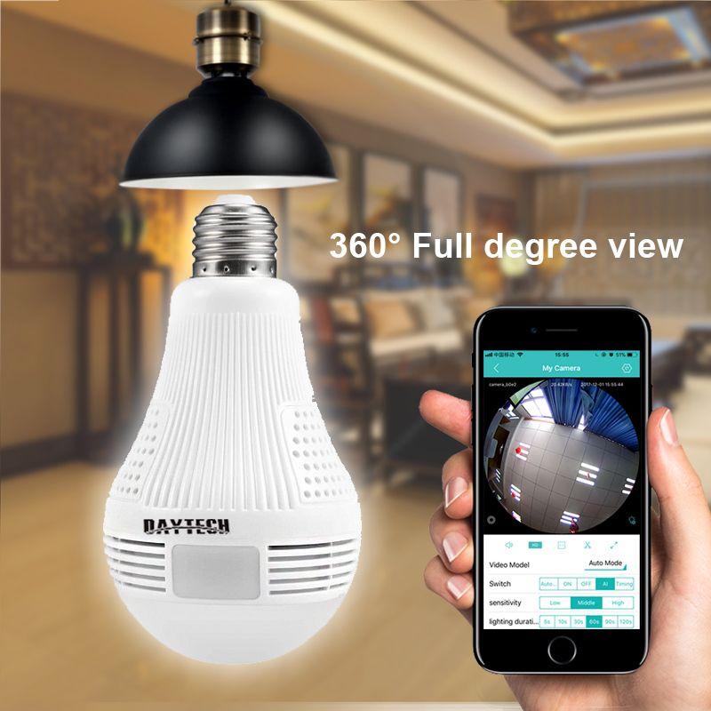 DAYTECH Wireless IP Camera WiFi Panoramic Fisheye Surveillance Camera 1080P 960P 360 Full Degree View Angel Lamp Light