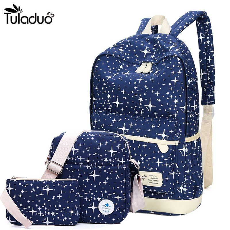 2018 New Preppy Style Canvas Backpack School Bags For Teenagers Girl Student Bookbags Rucksack Cute <font><b>Stars</b></font> Printing Children Set