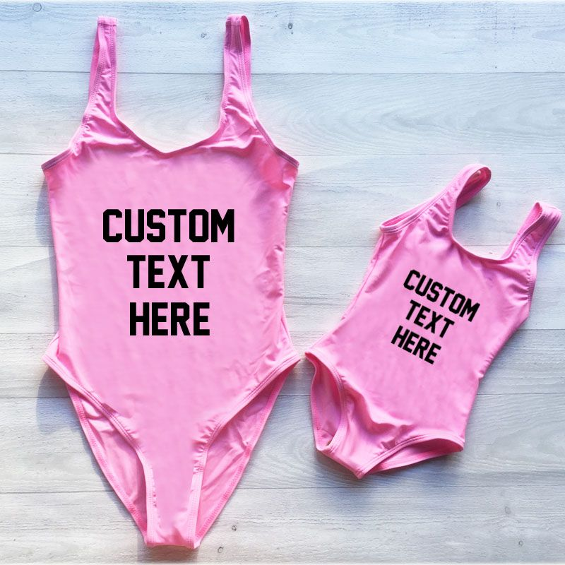 Custom Text One Piece Swimsuit Summer Bathing Suit Plus Size Swimwear Women Sexy Bodysuit monokini Beachwear Swim Suit Girls Red