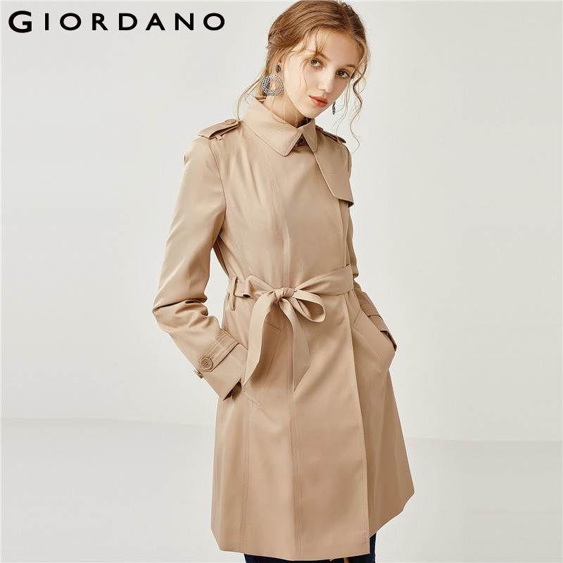 Giordano Frauen Graben Frauen Windschutz Zweireiher Versteckte Taste Verschluss Trenchcoat Lange Stil Gebändert Taille Casaco Feminino