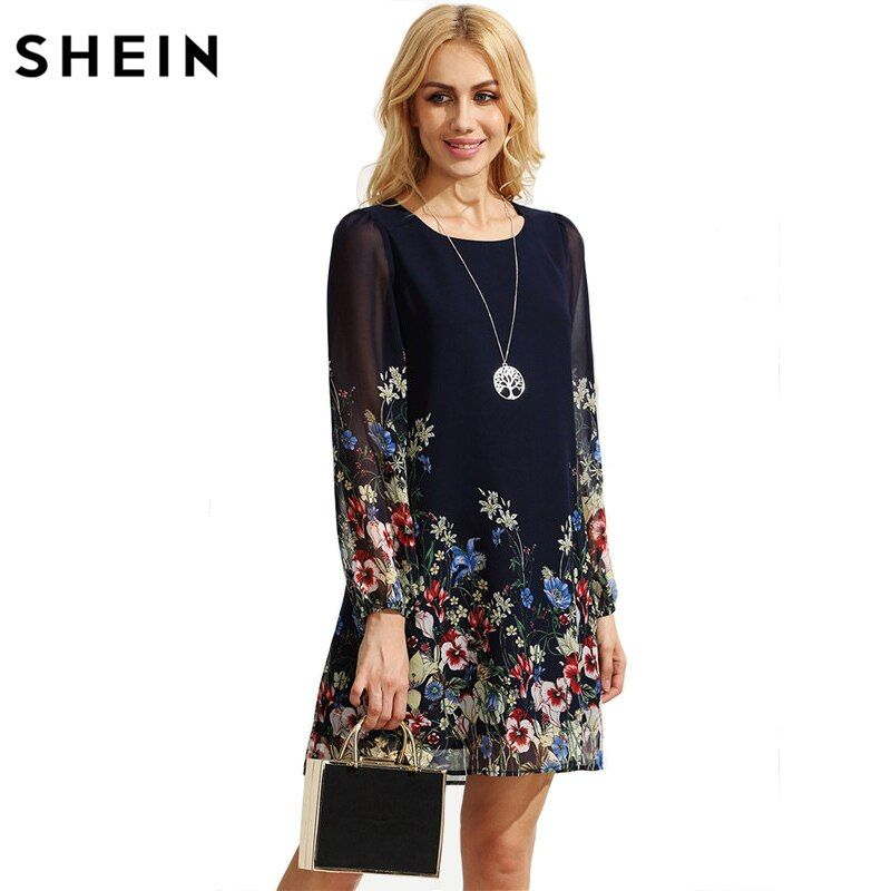 SHEIN Casual Autumn Boho Dresses for Women Multicolor Round Neck Long Sleeve Floral Print Straight Chiffon Dress