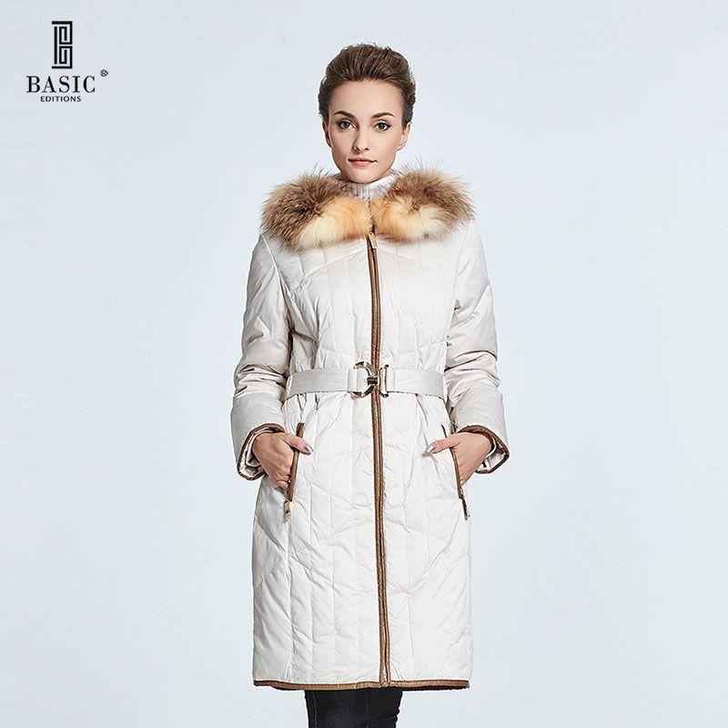 BASIC EDITIONS Women Winter Coat Fox Fur Zipper Slim Waist Down Parka Jackets - 13W-66