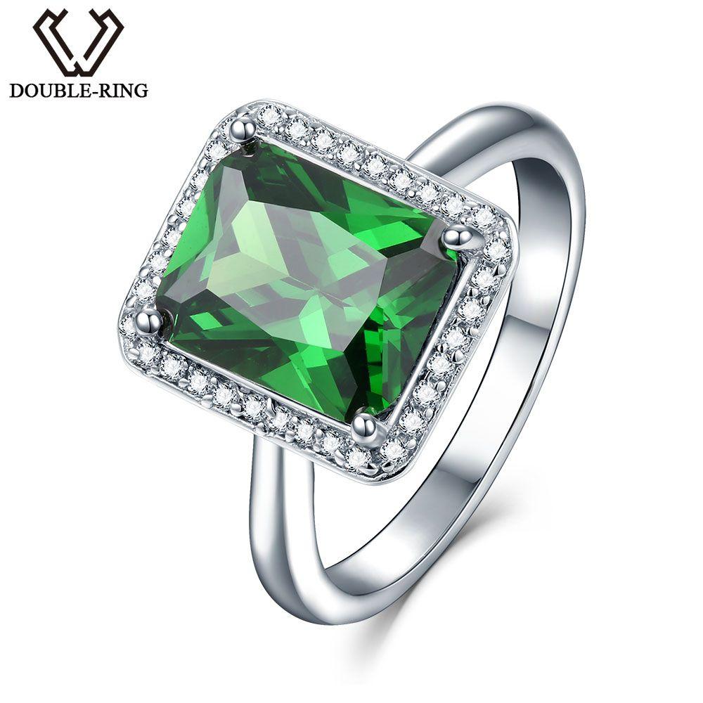 DOUBLE-R a créé la pierre gemme émeraude 925 bague de fiançailles en argent Sterling pour les femmes