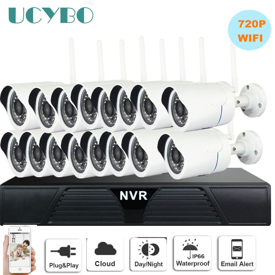 Drahtlose Ip-kamera NVR cctv system 720 P 16CH wifi außen wasserdichte Gewehrkugel CCTV Ip-kameras IR Cut 1080 P videoüberwachung Kits