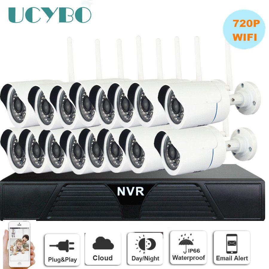 wireless IP Camera NVR cctv system 720P 16CH wifi outdoor waterproof Bullet CCTV IP Cameras IR Cut 1080P video Surveillance Kits