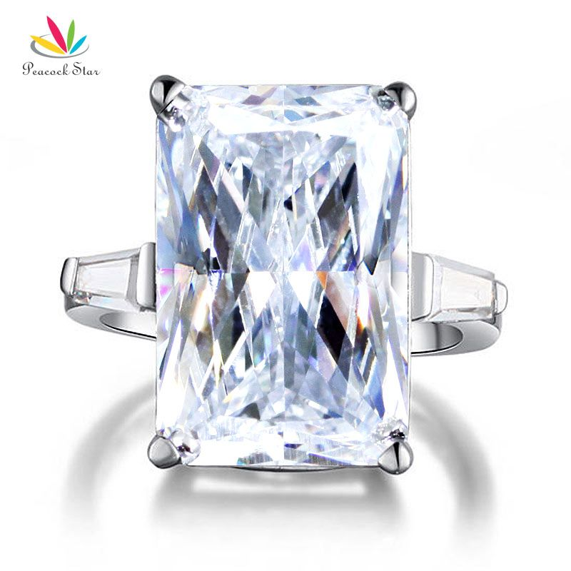 Peacock Star 8.5 Carat Solid 925 Sterling Silver Wedding Engagement Ring Luxury Jewelry CFR8117