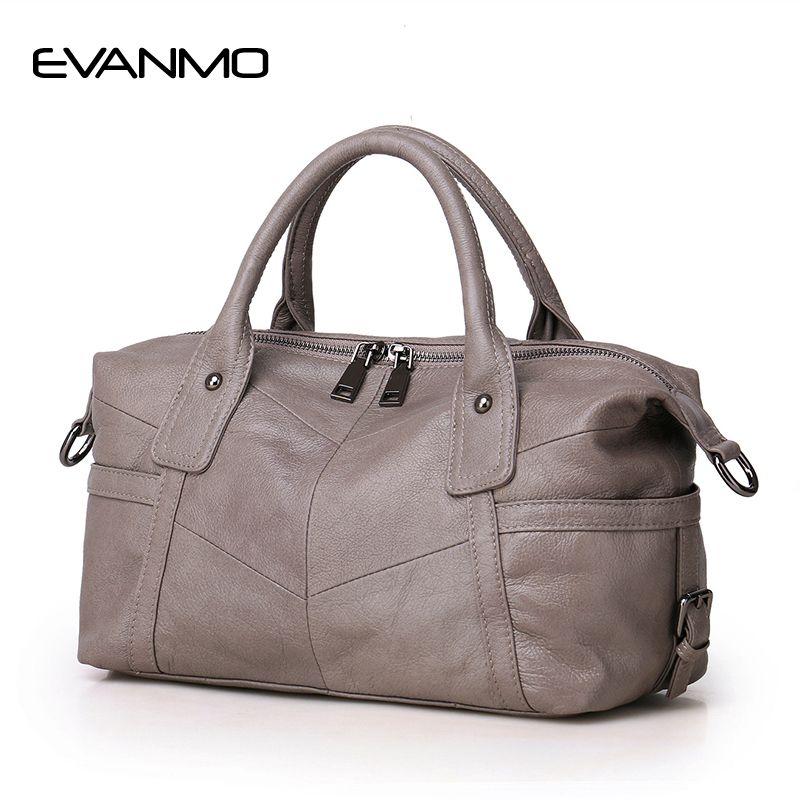 New Real Boston Polyester Soft 2018 Women Genuine Leather Handbags Design Crossbody Bag European & American <font><b>Style</b></font> Totes Classic