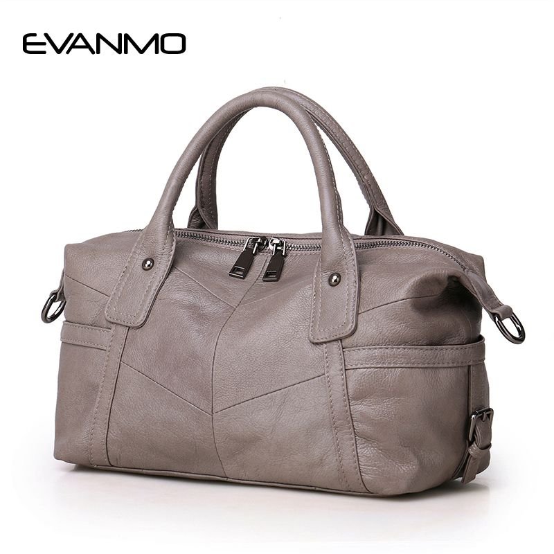 New Real Boston Polyester Soft 2018 Women Genuine Leather Handbags Design Crossbody Bag European & American Style Totes Classic