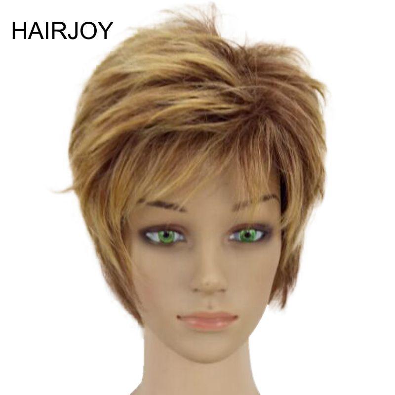 HAIRJOY femme Blonde mixte courte couches bouclés cheveux perruques haute température Fiber synthétique 4 couleurs disponibles livraison gratuite