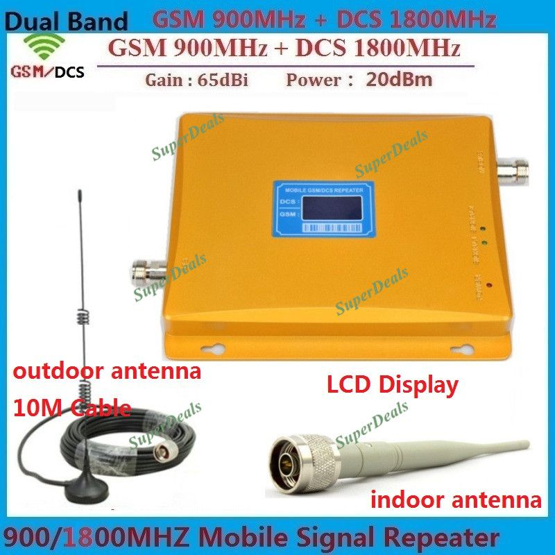 Dual Band 900 1800 Signal Booster GSM Repeater amplifiers DCS mobile signal repeater 4G cellular signal booster + antennas