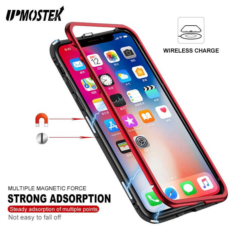 UPMOSTEK Strong Magnetic Adsorption Case For iPhone X 8 <font><b>Metal</b></font> Frame Tempered Glass Case For iPhone 7 8 Plus Built-in Magnet Case