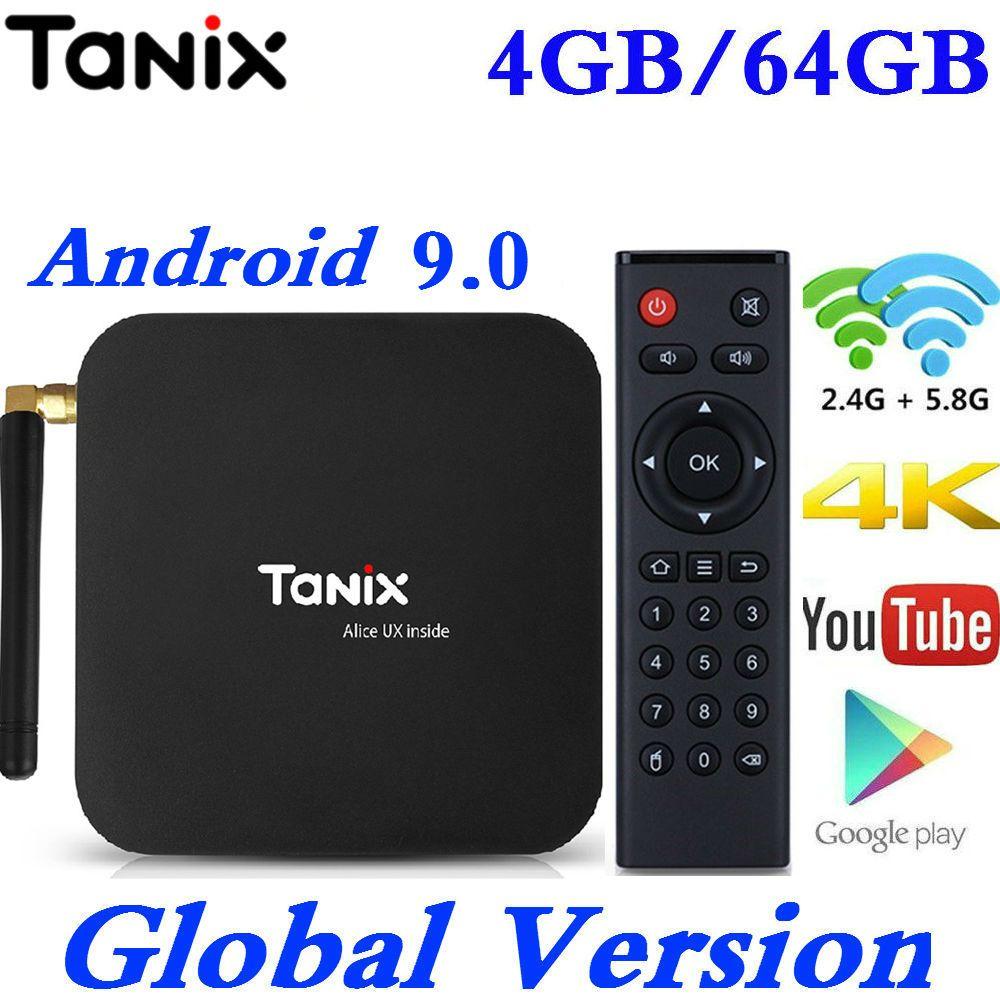 Smart TV Box Android 9.0 Tanix TX6 Allwinner H6 4 GB RAM 64 GB ROM 32G 4 K 2.4G/5 GHz double WiFi BT 2G16G PK T95 HK1 MAX lecteur multimédia