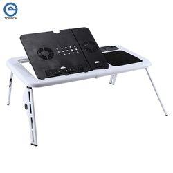 Escritorio plegable del ordenador portátil ordenador ajustable soporte de mesa plegable ventilador bandeja para cama sofá portátil