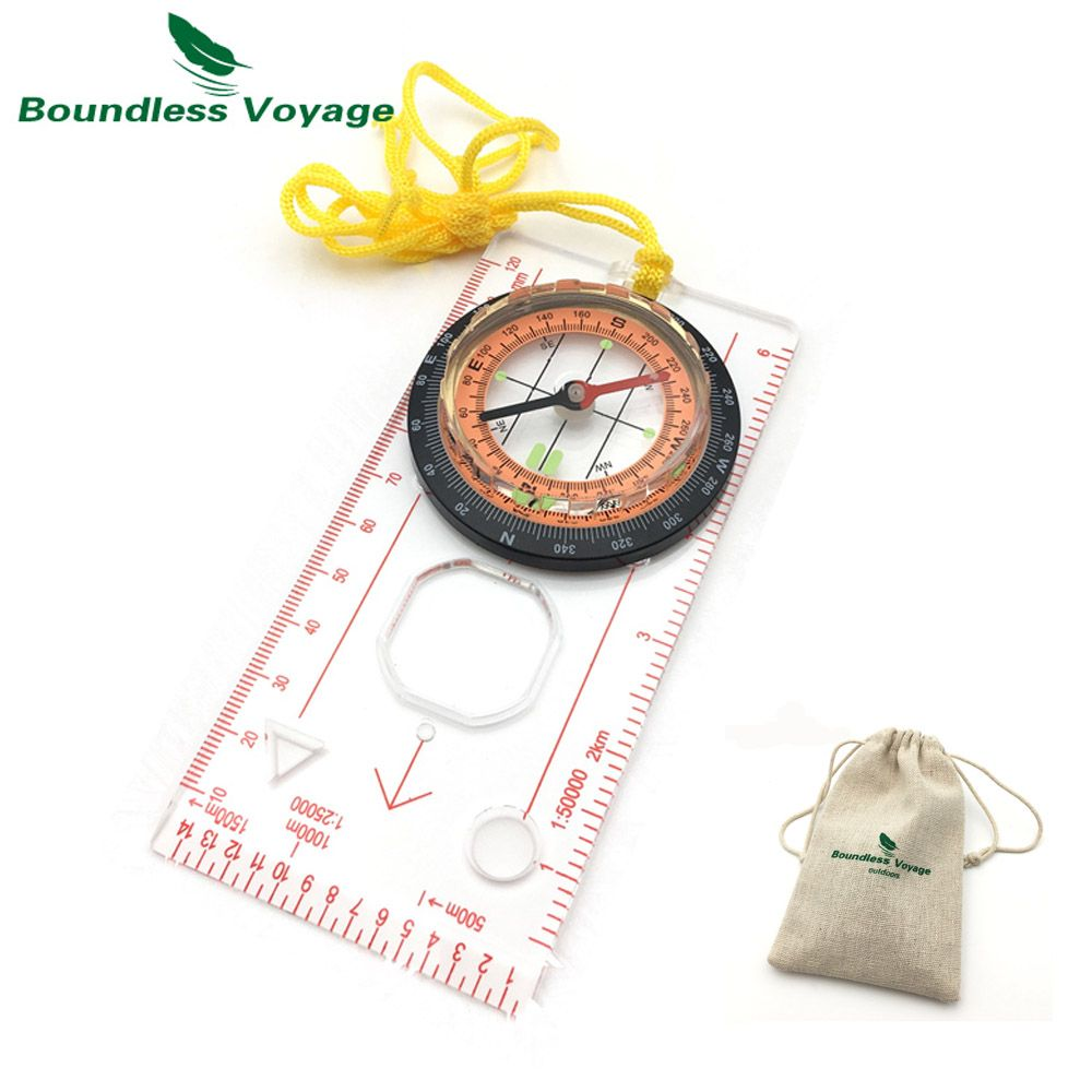 Boundless Voyage Outdoor Multifunctional Map Scale Compass Camping Hiking Waterproof Portable Cross-Country Compass  BVC05