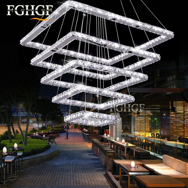 Large Crystal Chandeliers 5 Rings lustres de Cristal Lamp Dinning Living Room LED Square Crystal Chandeliers Lighting Square