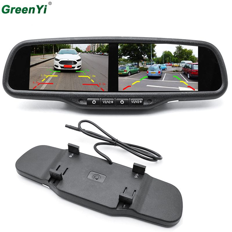 GreenYi HD 800X480 Dual 4,3 Zoll Screen TFT LCD Rückansicht auto Monitor Spiegel 2CH Video In 2 STÜCKE Screen Display Universal Version