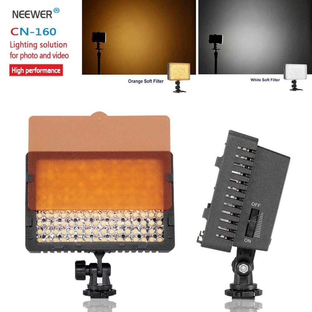 Neewer CN-160 160 LED lumière vidéo sur la lumière de l'appareil photo pour Canon Sony Panasonic caméscope ou DLSR Camerasor caméscope vidéo numérique