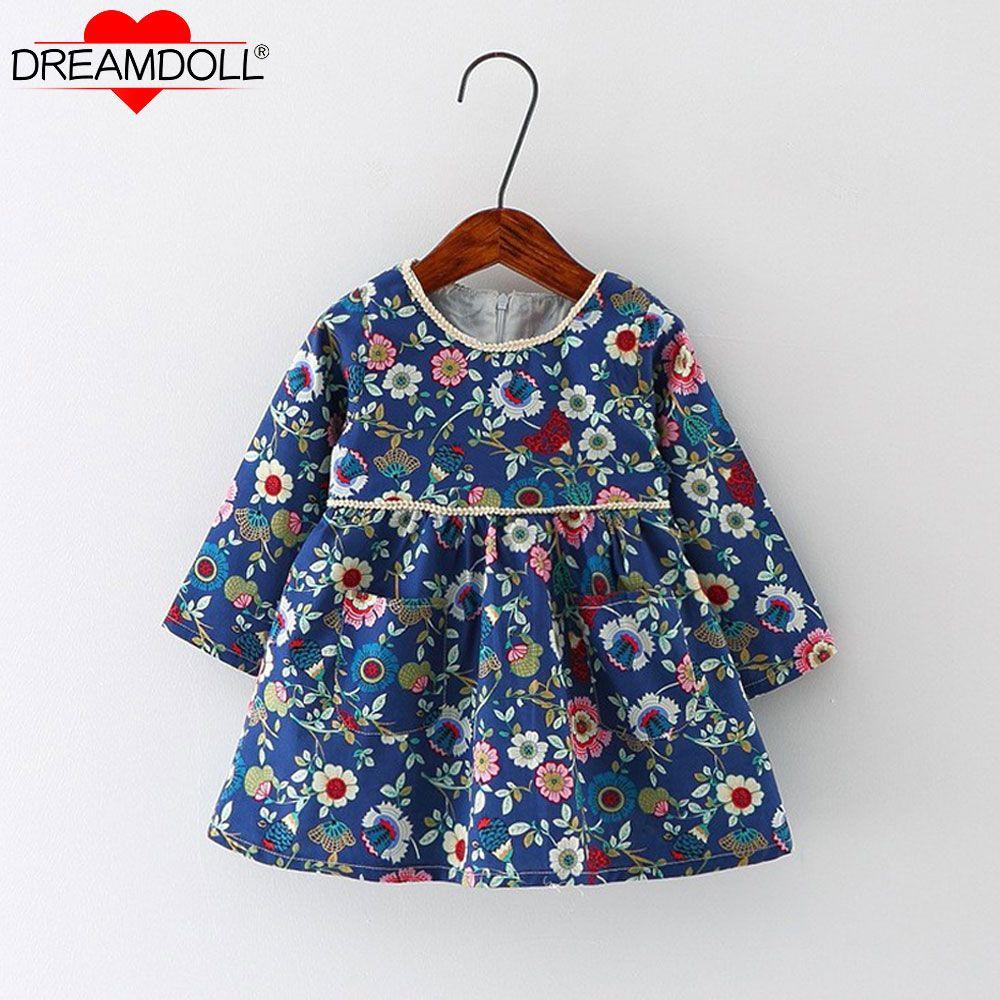 Новый Осеннее платье для маленьких девочек хлопок младенческой Цветочный принт Европейский Стиль в винтажном стиле, с длинным рукавом Плат...