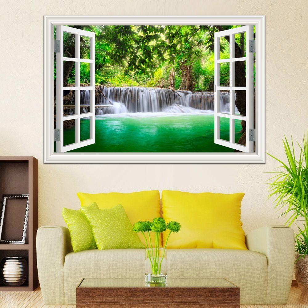 Mur Art cascade 3D fenêtre vue mur autocollant paysage salon cuisine mur art mur vinyle affiche et impressions