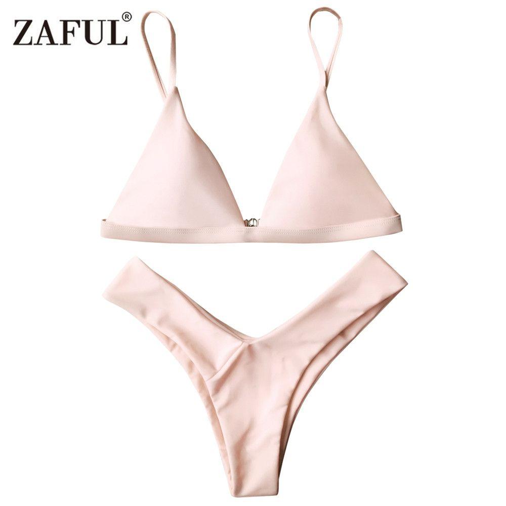 Zaful 2017 Woman Bikini Set High Cut Soft Pad Spaghetti Strap Thong Swimwear Solid Brazilian Biquini Maillot De Bain Bath Suit