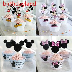 12pcs wrappers + 12pcs toppers minnie mickey mouse Design Colored Paper cupcake cake decorations supplies