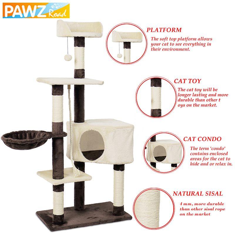 Domestic Lieferung Katze Baum Spielzeug Haus mit Hängenden Ball Kätzchen Möbel Scratcher Massivholz für Katzen Klettergerüst Katze Eigentumswohnungen