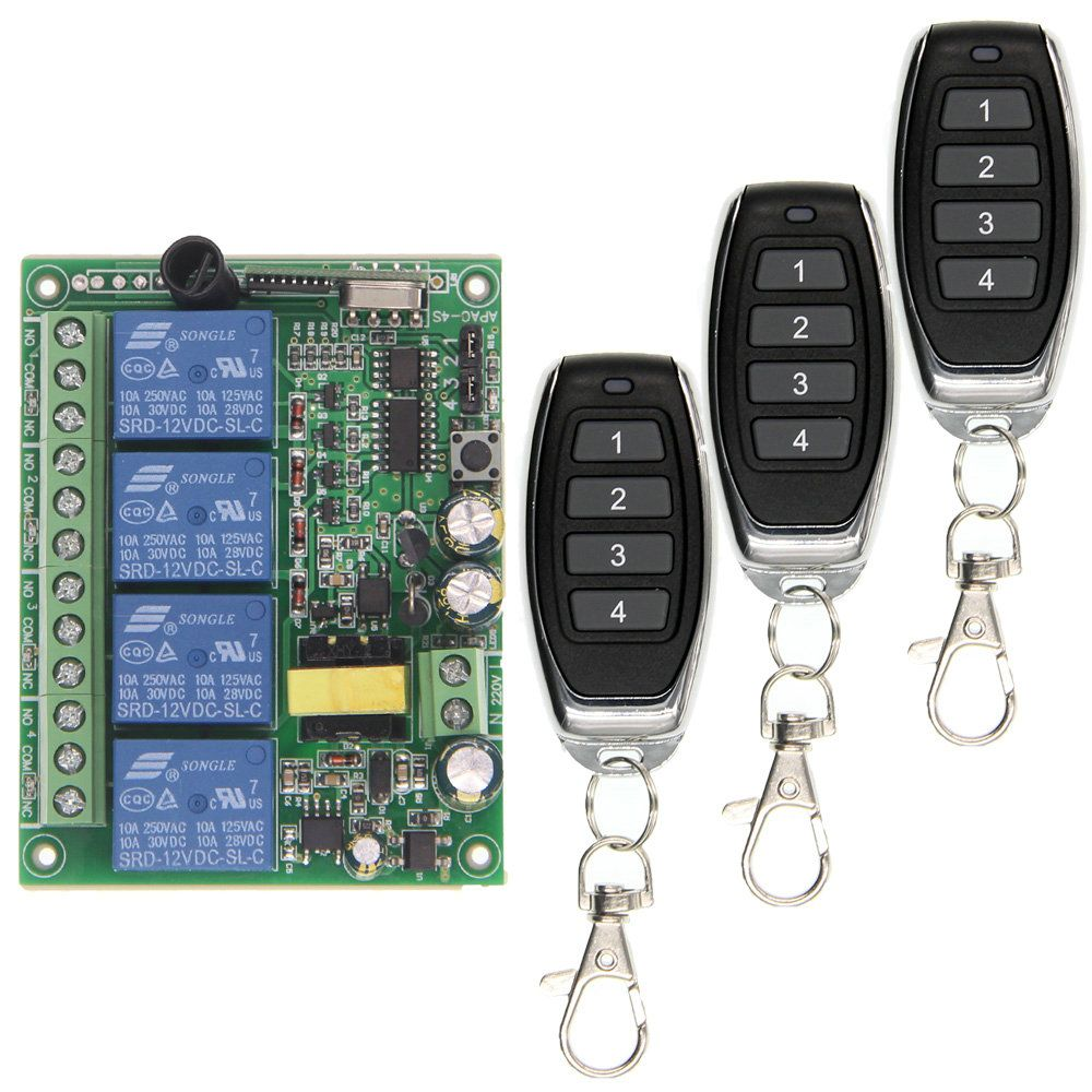Universal AC 220V 10A Relay 4CH 4 CH Wireless RF Remote Control Switch Transmitter+Receiver Module,315 / 433.92 MHz