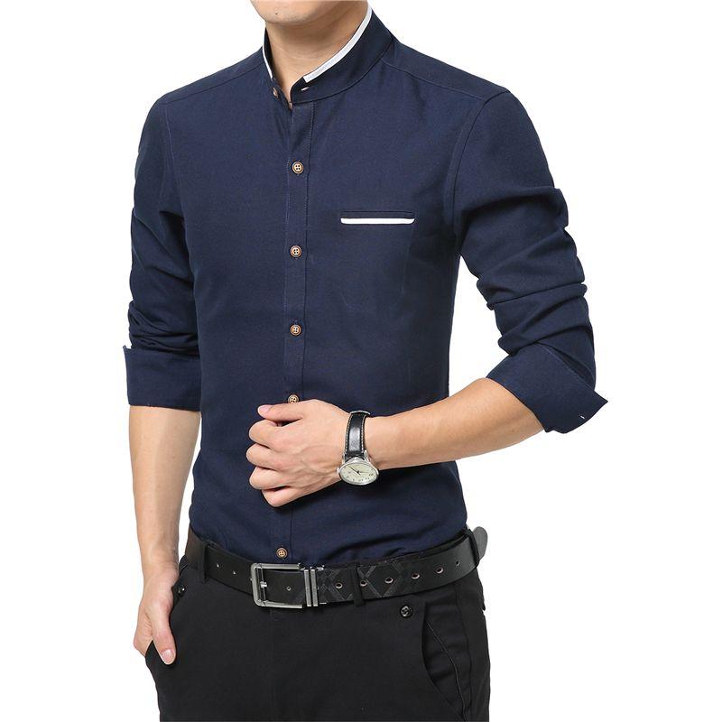 Nouvelle mode décontracté hommes chemise à manches longues col Mandarin Slim Fit chemise hommes coréen affaires hommes robe chemises hommes vêtements M-5XL