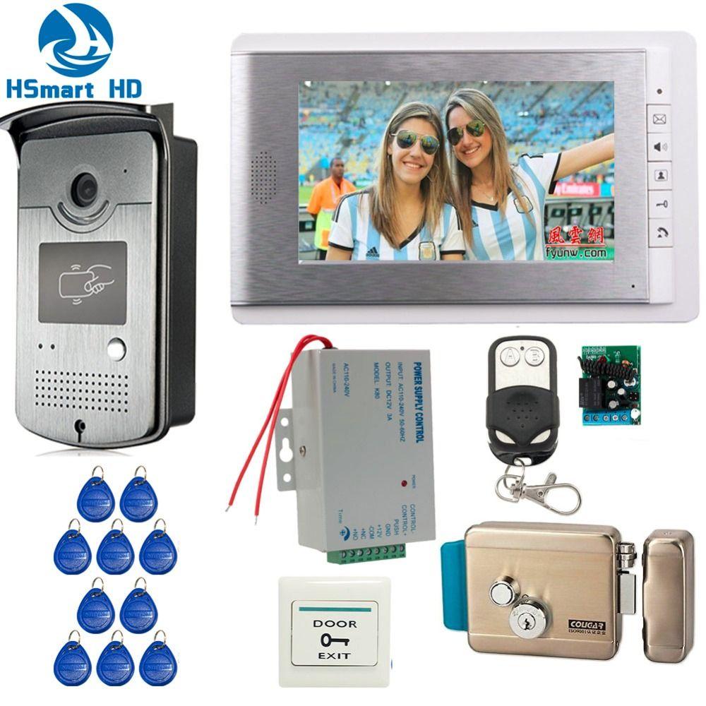 Haus Verdrahtete 7 zoll Video Türsprechanlage Sprechanlage Eintrag System 1 Monitor + 1 RFID Access IR Kamera + Elektrische Steuerung Tür schloss