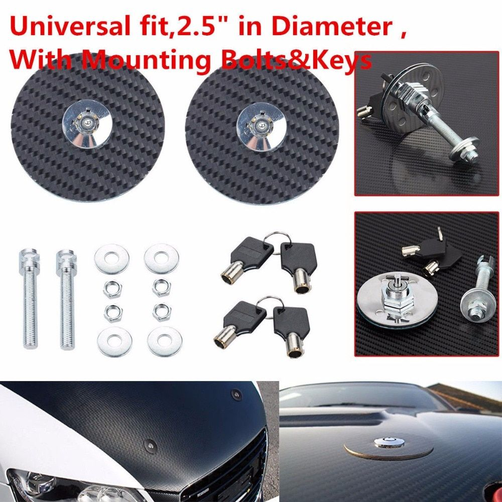 Triclicks Universal Black Racing Mount Bonnet Carbon Fiber Hood Pins Latch Key Locking Kit Auto Car Hood Pin Lock Bolts&Keys New