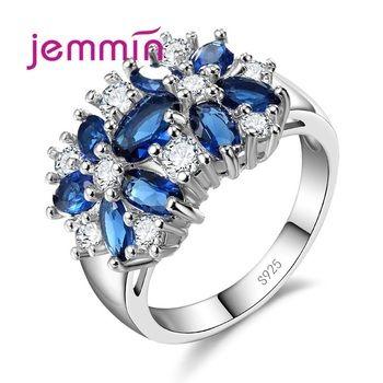 Jemmin Grau Top 925 Sterling Silver Marca de Jóias Novo E Elegante Brilhante Flor de Cristal Anel de Casamento Das Mulheres Anéis de Noiva 5 Cor