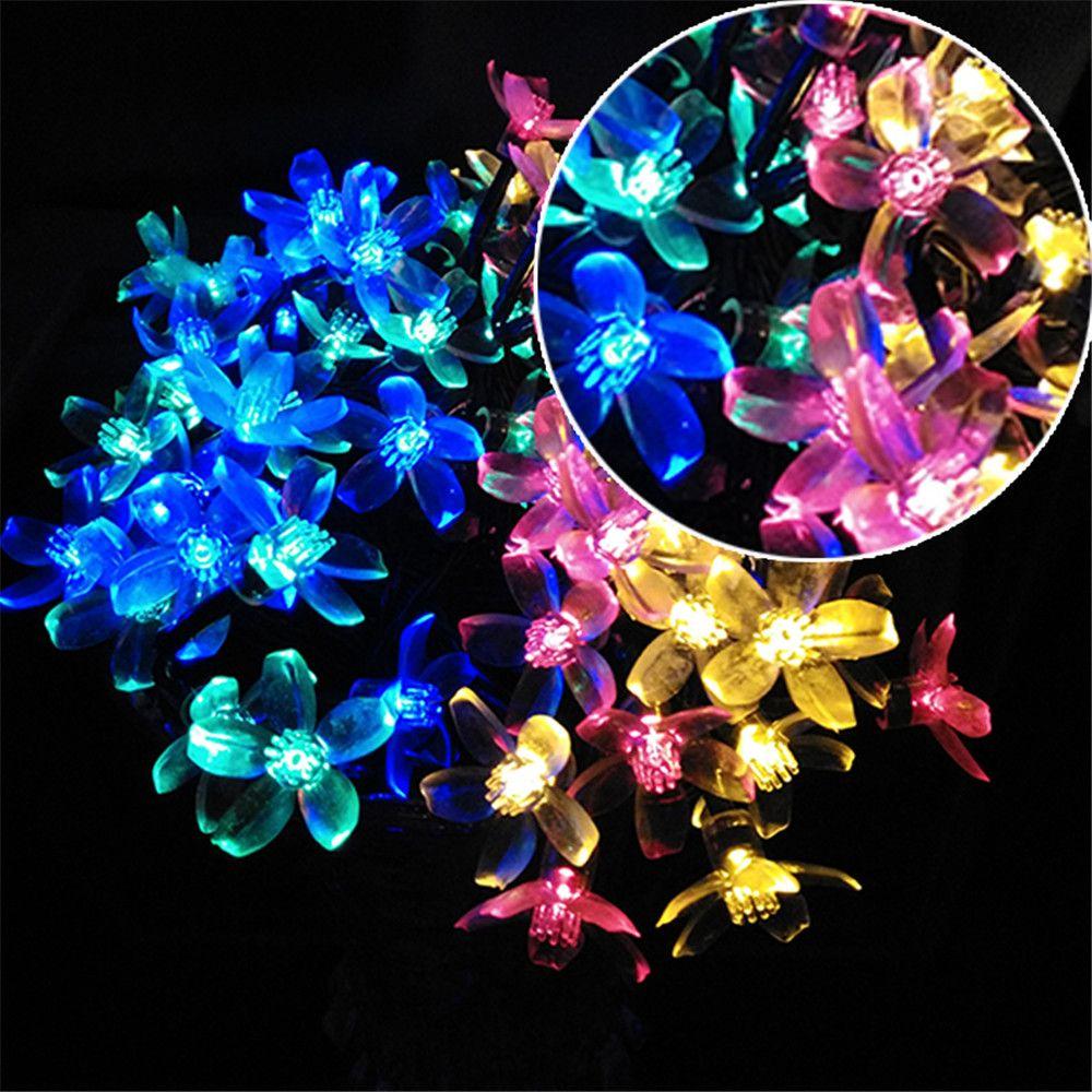 YIYANG Solar LED Holiday Garlands <font><b>String</b></font> Light 7M 10M Cherry Sakura Wedding Bouquet Party Lights Garden Decor Lamps Luces Solare